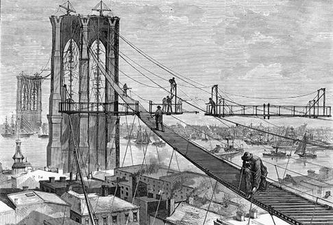 brooklyn-bridge under construction