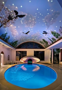 Imaginative-painted-ceiling-and-pool-for-those-who-love-a-bit-of-drama
