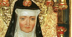 St. Hildegard of BIngen is depicted on a gilded altarpiece inside the Rochuskapelle, a pilgrim church dedicated to St. Roch in the town of Bingen am Rhein, Germany. Pope Benedict XVI signed a decree May 10 that formalized her Sept. 17 feast and added her name to the church's catalogue of saints. The German Benedictine mystic, although venerated for centuries, had never been officially canonized. (CNS photo/courtesy of KNA) (May 11, 2012) See POPE-SAINTS May 10, 2012.